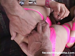 Brunette slut gets treated like a pet