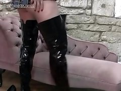 Sexy schoolgirl Simone wears her mums slutty leather boots when home alone