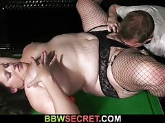 He bangs BBW in fishnets as wife leaves