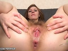 Ariadna Moon pounds her own hairy pussy