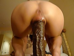 riding huge dildo hard
