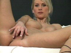 Hot blonde is alone